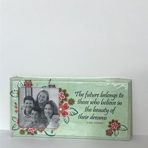 "Photo Frame with Quote Holds 3"" X 3"" Photo Floral"